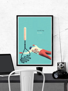 Tluczka Quirky Kitchen Art Print in a frame on a wall