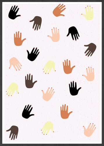 Together Hands Print Illustration in a frame