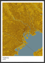 Load image into Gallery viewer, Tokyo City Map Print in a frame