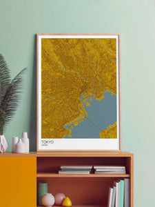Tokyo City Map Print n a frame on a shelf