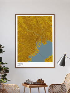 Tokyo City Map Print in a frame on a wall