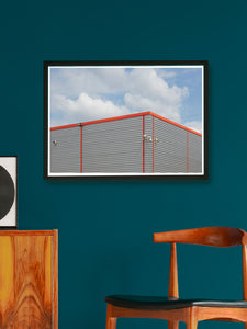 Trafford Industrial Park Building Wall Art in a contemporary room