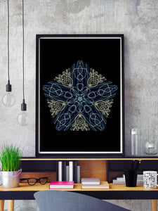 Tron Kaleidoscope Print in a frame on a shelf