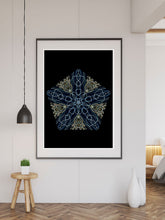 Load image into Gallery viewer, Tron Kaleidoscope Print in a frame on a wall