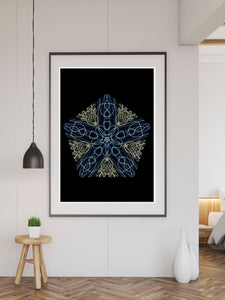 Tron Kaleidoscope Print in a frame on a wall