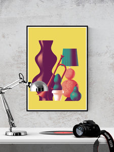 Trumpet Modern Still Life Art Print in a frame on a wall