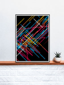 Tube Graffiti Abstract Art in a frame on a shelf