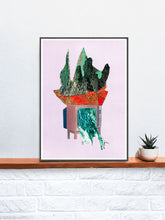 Load image into Gallery viewer, TV Land Collage Abstract Art in a frame on a shelf