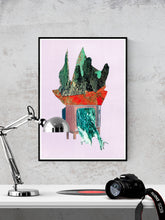 Load image into Gallery viewer, TV Land Collage Abstract Art in a frame on a wall