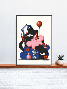 Tygielek Surreal Illustration Art in a frame on a shelf