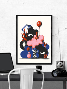 Tygielek Surreal Illustration Art in a frame on a wall