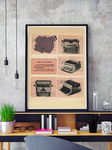 Typewrong Retro Poster in a frame on a shelf