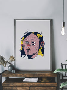 Ugly Boy Portrait Drawing Print in a tredny room