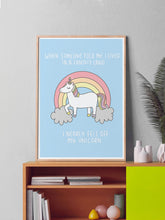 Load image into Gallery viewer, Unicorn Poster Print in a frame on a shelf