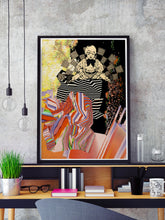 Load image into Gallery viewer, Universal Volume Collage Art Print in a frame on a shelf