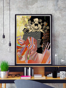 Universal Volume Collage Art Print in a frame on a shelf