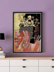 Universal Volume Collage Art Print in a frame on a wall