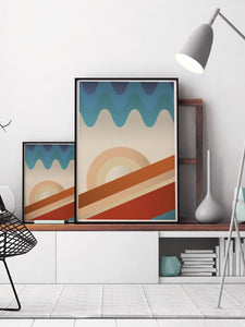 Upside Down Abstract Landscape Print in contemporary room