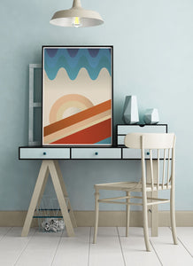 Upside Down Abstract Landscape Print on a modern desk