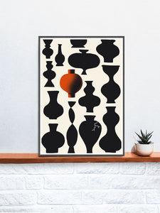 Vases Fine Art Illustration Print in a frame on a wall