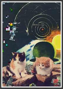Vega Starcats Retro Cats Print in a frame