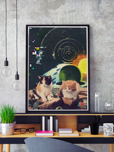 Vega Starcats Retro Cats Print in a frame on a shelf