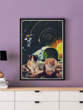 Load image into Gallery viewer, Vega Starcats Retro Cats Print in a frame on a wall