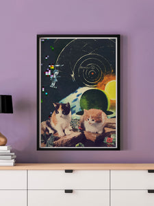Vega Starcats Retro Cats Print in a frame on a wall