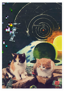 Vega Starcats Retro Cats Print not in a frame