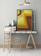 Load image into Gallery viewer, Vinyl Zig Zag 70s Retro Art Print on a stylish desk