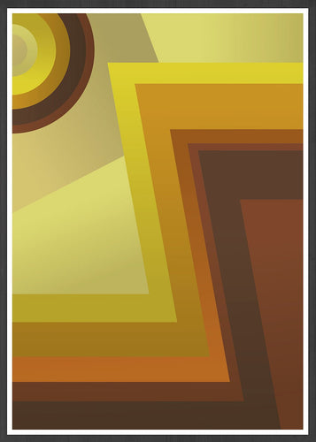 Vinyl Zig Zag 70s Style Abstract Print in a frame