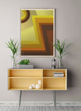 Load image into Gallery viewer, Vinyl Zig Zag 70s Retro Art Print in a stylish room interior