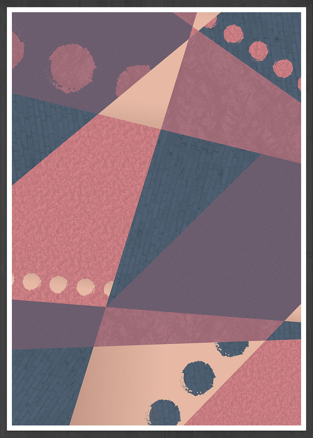 Warm but Cold Geometric Dots Art Print in a frame