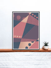 Load image into Gallery viewer, Warm but Cold Geometric Dots Art Print on a shelf