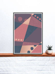 Warm but Cold Geometric Dots Art Print on a shelf