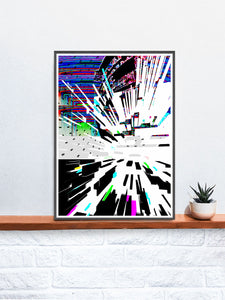 Watch Tower Glitch Poster Print in a frame on a shelf