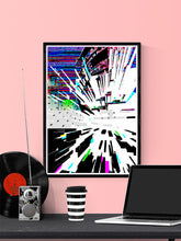 Load image into Gallery viewer, Watch Tower Glitch Poster Print in a frame on a wall