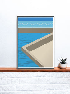 The Water Below Geometric Shape Art on a shelf