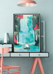 Waterfall Fantasy Print on a table in a modern room
