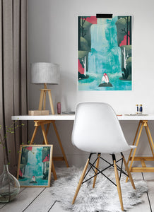 Waterfall Fantasy Print behind a desk in a beautiful room