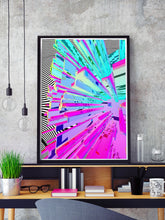 Load image into Gallery viewer, Wavy Crystal Glitch Art Print in a frame on a shelf