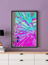 Load image into Gallery viewer, Wavy Crystal Glitch Art Print in a frame on a wall