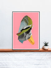 Load image into Gallery viewer, Winds Abstract Collage Print in a frame on a shelf