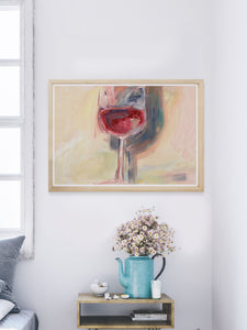 Wine is Poetry Acrylic Painting in a bedroom