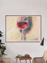 Load image into Gallery viewer, Wine is Poetry Acrylic Painting in a traditional room