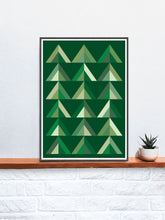 Load image into Gallery viewer, Wood for the Trees Forest Abstract Art in a frame on a shelf