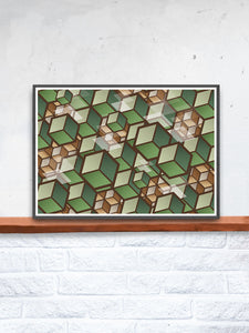 Woodland Cubes 3D Cube Wall Art on a shelf