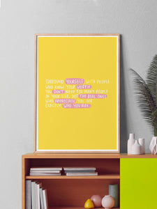 Worth Quote Art Print in a frame on a shelf