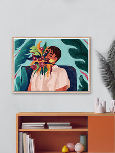 Your Soul Is A Jungle Botanical Wall Art by Figen Demireva In Modern Room Interior