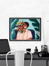 Load image into Gallery viewer, Your Soul Is A Jungle Botanical Art Poster by Figen Demireva above a smart desk